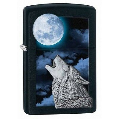 Zippo 28879 wolf howling at moon emblem black matte finish full size Lighter