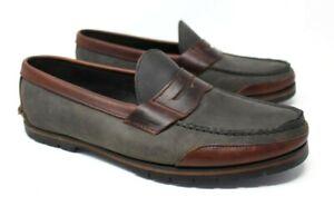 Church-039-s-Mocs-Men-039-s-12-M-Black-Brown-Loafers-Slip-On-Shoes-Nubuck-Leather-EUC
