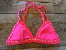 """Neon Pink  SMALL Victoria's Secret """"CROCHET SURF TRIANGLE"""" Bikini Swim Top"""