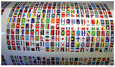 242 Autocollants diff/érents Pays /Îles /& Territoires du monde 10 x 15 mm en vinyle autocollant.