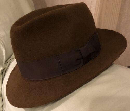 Vintage 80s 7 5/8 Batsakes Brown Fedora Hat Wide B