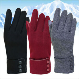 Womens-Fashion-Wrist-Winter-Autumn-Warm-Gloves-Touch-Screen-Solid-Color-NEW