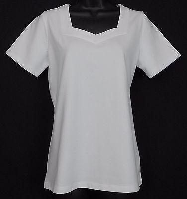 Denim Co Essentials Knit Top Size XS White Cotton Blend Solid Short Sleeve Shirt