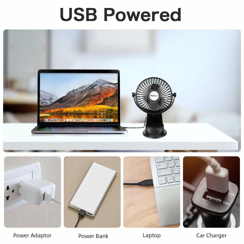 Yadianna USB Clip Fan Home Sleep Three-Speed Fan with Battery Desktop Office Fan Car Fan