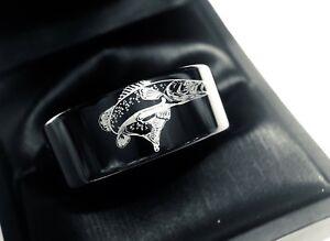 Black Tungsten Trout Ring Mens Tungsten Ring Mens Wedding Band