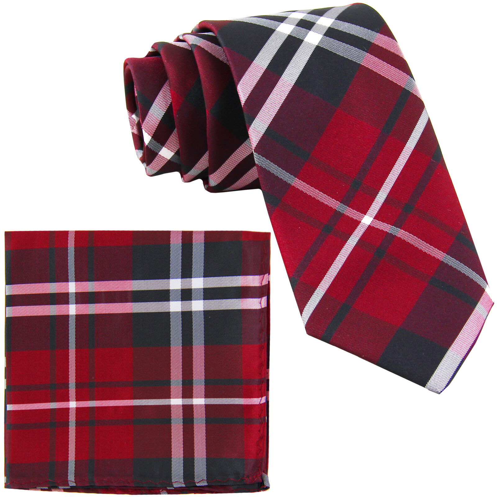 "New Men/'s Vesuvio Napoli plaid 2.5/"" skinny Neck Tie Necktie /& hankie set brown"
