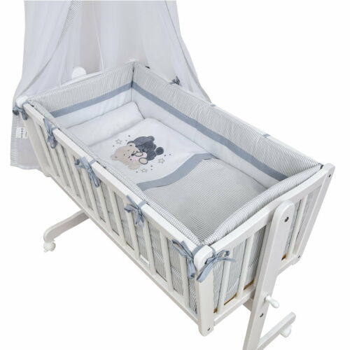 Wiege Schaukelwiege Babywiege Holz Weiß Bettset  Applikation Teddy komplett