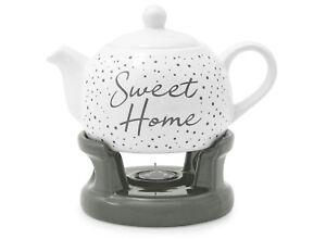 Theiere-Blanc-Porcelaine-Avec-Chauffe-plat-Support-Base-1L-Ceramique-Noir-HOME