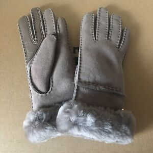 310d096322c Details about UGG SEAMED TECH STORMY GREY SUEDE SHEEPSKIN WINTER GLOVES  SIZE L LARGE WOMENS