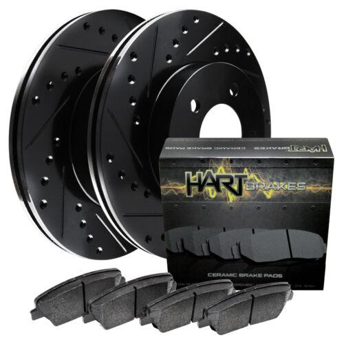FRONT KIT Black Hart *DRILLED /& SLOTTED* Disc Brake Rotors Ceramic Pads F1395
