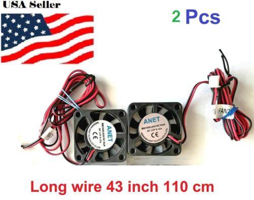 2 Pcs DC 12V long wire Cooling Fan 40mm 40x40x10mm 4cm 4010s 9Blade 3D Printer