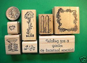 Friendship-Bird-Garden-Rubber-Stamp-Set-7-wood-mounted