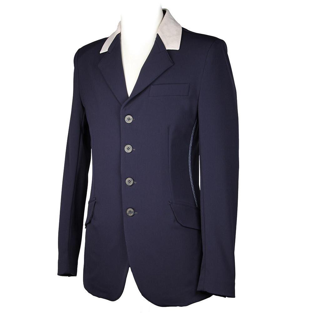 Manfrojoi Negro con Royal azul Collar Show Chaqueta Reino Unido para hombre 32