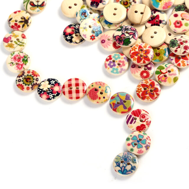 15mm Mixed 2 Holes White Round Pattern Wood Buttons Sewing Scrapbooking 100 Pcs