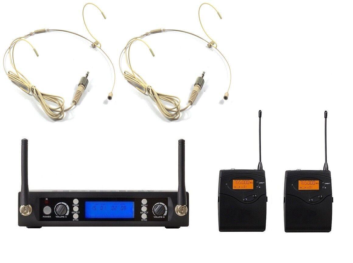 UHF Dual Beige Headset Wireless Microphone System For Senheiser Wireless Headset
