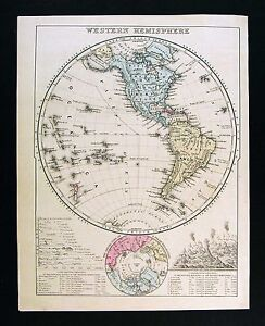 Map Of North America And Hawaii.1872 Mitchell Map Western Hemisphere North South America Hawaii