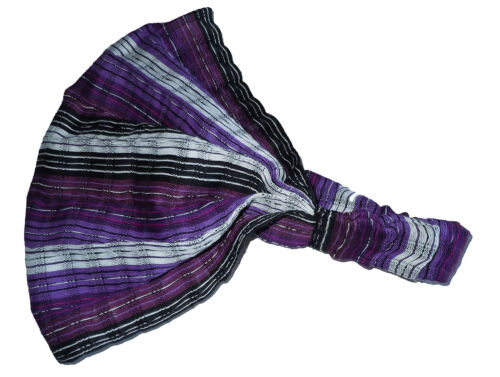 Hand Made Head Band Purple White  Stripe Yoga Wrap NEW G1 Guatemalan HEADBAND