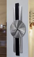 Silver/Black Metal Wall Clock - Modern Contemporary Metal Wall Art by Jon Allen