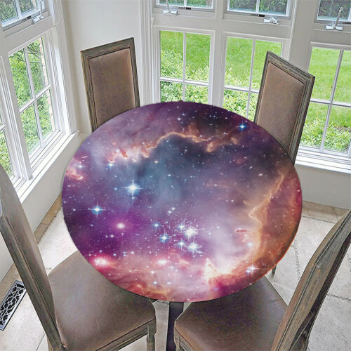 Elastic Edged Round Tablecover Waterproof Party Decoration Durable Vinyl