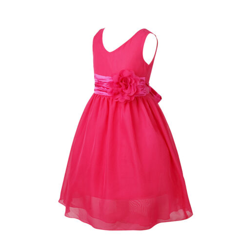Girls Bridesmaid Dress Kids Ball Gown Flower Wedding Birthday Formal Party Prom