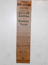 Newspaper ad 4th of July Celebration Kenedy Texas Barbecue Maulding Land Co 1913