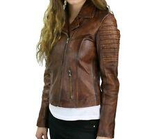 Womens Cafe Racer Quilted Tan Moto Biker Distressed Brown Vintage Leather Jacket