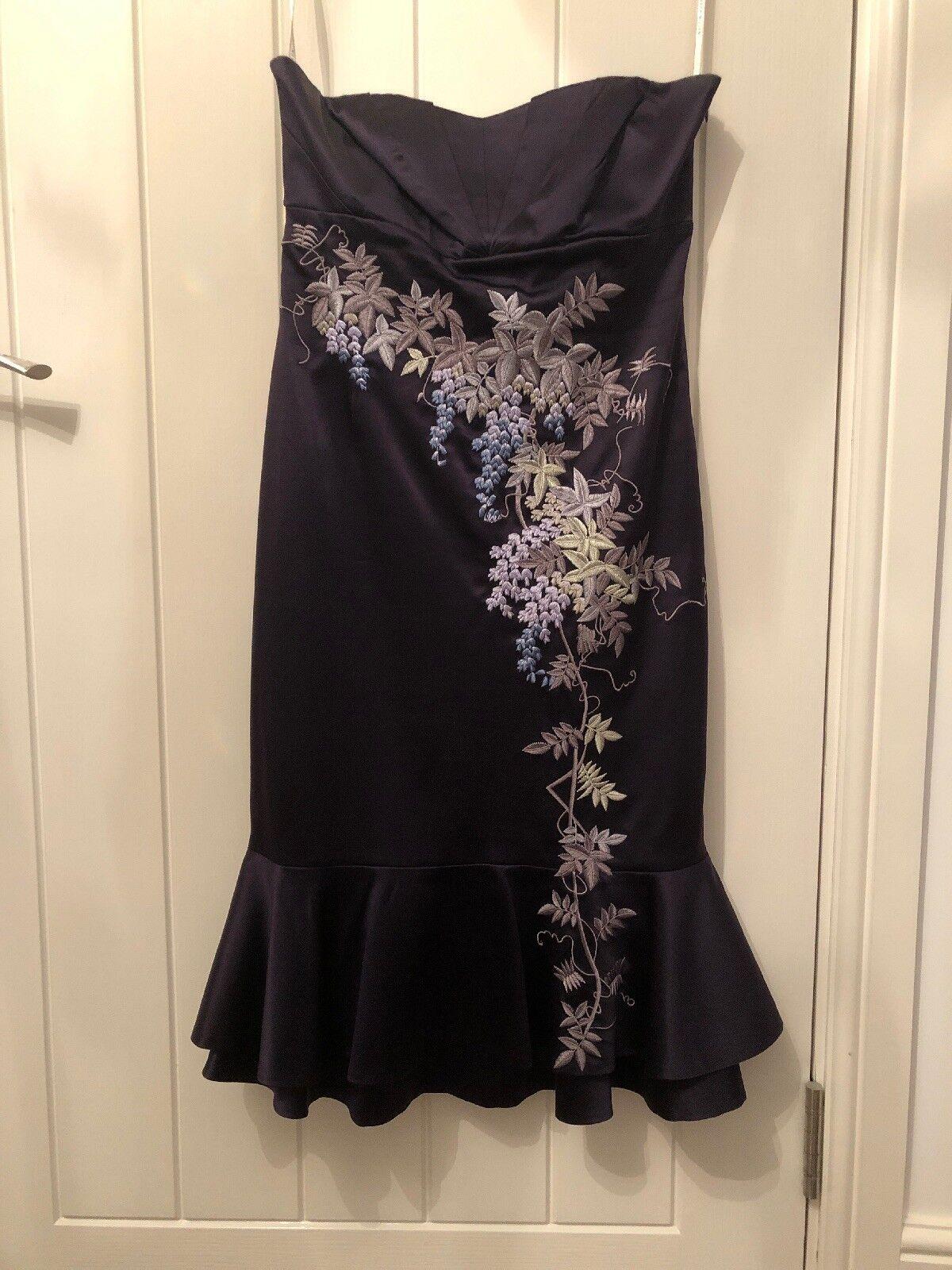 Splendido Karen Millen silk dress Dimensione 10 Festa Matrimonio Prom Palla