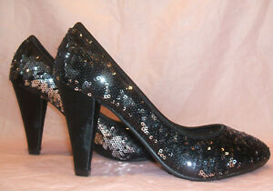 3e9069531b37 new size 3 36 black silver sequin mid heel party court shoes matching ...