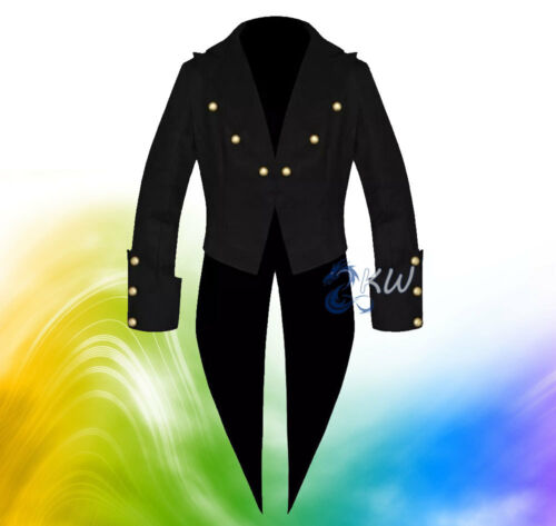 Fait Custom Black Tuxedo Steampunk main 100Coton la à Tailcoat Victorian Homme Goth 80OnyvNwm