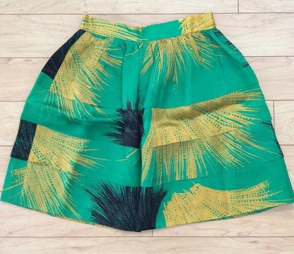 Silk Tiered Crosshatched Ruffle Skirt By Sariah Sz 10 Green NW ANTHROPOLOGIE Tag