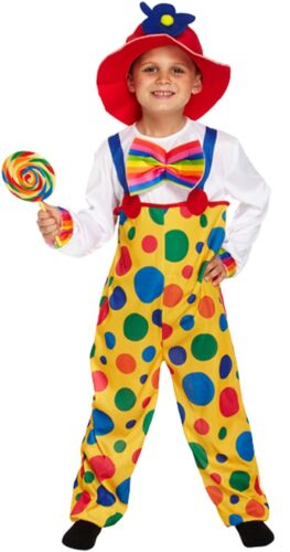 Childs Clown Dressing Fancy Dress Dressing Up Outfit Boys Kids Age 4-9 NEW