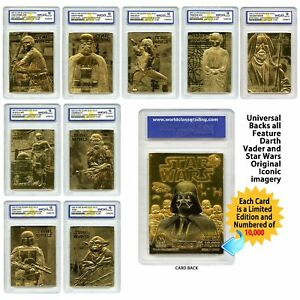 STAR-WARS-Set-of-9-Official-23K-Gold-Cards-Graded-Gem-Mint-10-DARTH-VADER-SERIES