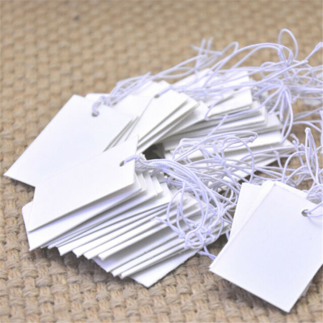 100Pcs White Paper Jewelry Clothes Label Price Tags With Elastic String 5*3cm FT