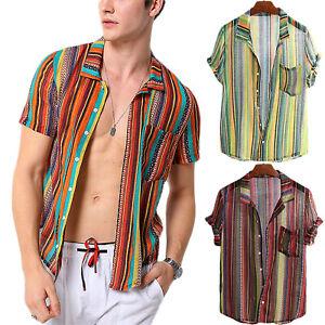 Para-Hombres-Camisa-Manga-Corta-A-Rayas-Ajustado-causal-Camisetas-Tops-Playa-De-Verano-Suelto