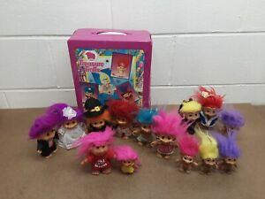 Vintage-Troll-Doll-Lot-Treasure-Troll-Case-14-Dam-Russ-and-Treasure-Trolls