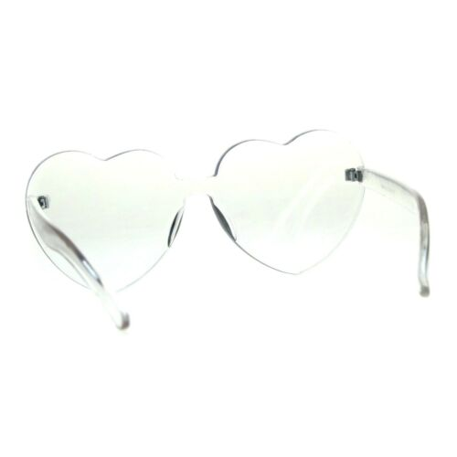 Womens Heart Shape Thick Panel Rimless Plastic Sunglasses