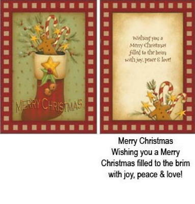 Folk Art  CHRISTMAS CARDS By Legacy ~~ FESTIVE STOCKING ~~ SET OF 2 ~ SALE!