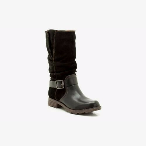 NEW Clarks PLUS Womens Leather boots NATIONAL SPICE Mid Calf Biker Black Pull On