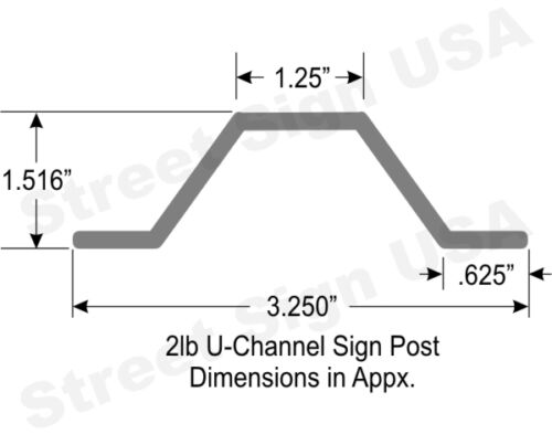 3/' GALVANIZED U CHANNEL SIGN POST BASE HEAVY DUTY FOR STREET ROAD TRAFFIC SIGNS