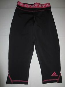 ADIDAS WOMEN'S CROPPED Athletic Pants Size Small Black With