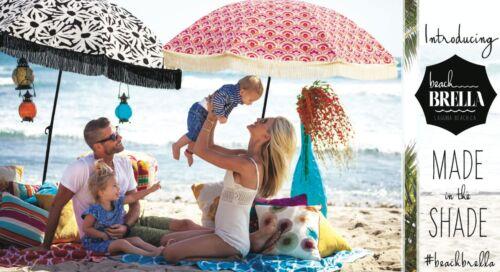 "Vintage Red//White//Blue Fun Beach Umbrella by BeachBRELLA ® 60/""round 100/%UV"
