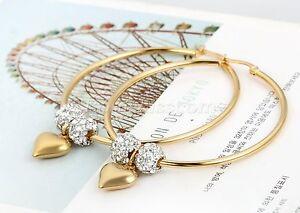 Women-Rhinestone-Heart-Dangle-Gold-Tone-Stainless-Steel-Big-Circle-Hoop-Earrings