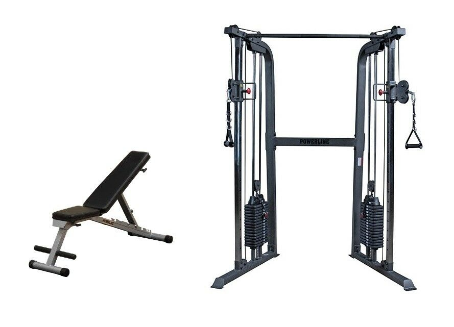 Powerline Functional  Trainer w  Folding Adjustable Bench - PFT100 Cable Home Gym  wholesale cheap and high quality
