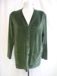 Ladies-Cardigan-Kaleidoscope-size-14-green-velvety-cotton-mix-v-neck-7080