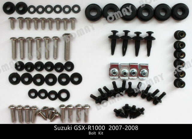 and Hardware Fasteners Black Complete Motorcycle Fairing Bolt Kit For Suzuki GSX-R1000 2007-2008 Body Screws