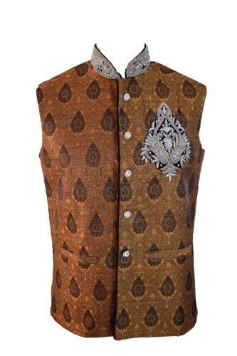 Da Uomo Elegante Marrone Gilet Jacquard Giacca Nehru Blazer JA2000