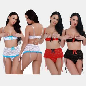 Sexy-Women-Plus-Size-Lingerie-Lace-Babydoll-Chemise-Shelf-Bra-Underwear-G-String