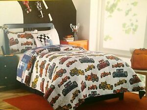 3 Pc Kids Twin Set Boy Zone Race Car Bedding Boys Room