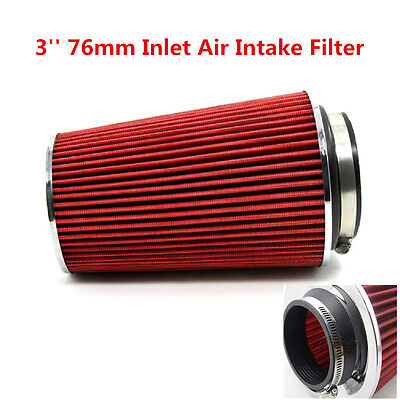 """3/"""" Car Air Filter Cold Air Intake Filter Cone Shape Red Performance Long Ram"""