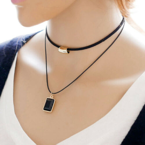 Double Layer Black Crystal Clavicle Short Punk Gothic Necklace Women Jewelry